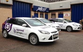 Approved garages.co.uk - three vehicles branding