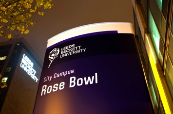LBU Rose Bowl totem sign and large frontlit building lettering