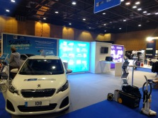 Group Auto exhibition system featuring illuminated panels