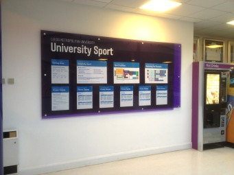 LMU printed acrylic wall display
