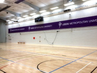 Printed PVC vinyl banner in the Carnegie sports hall