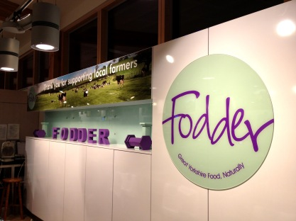 Reverse printed acrylic panel and circles for Fodder