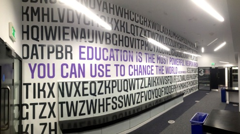 Vinyl cut out lettering to full wall