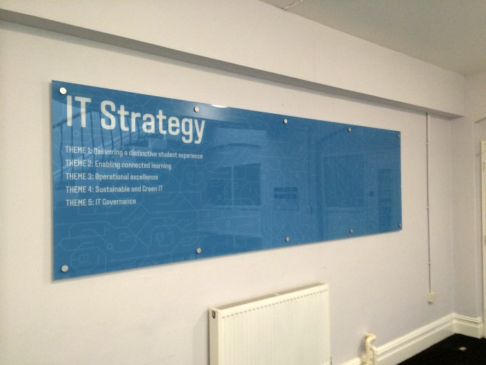 Wall mounted sign, printed on clear acrylic with standoff studs