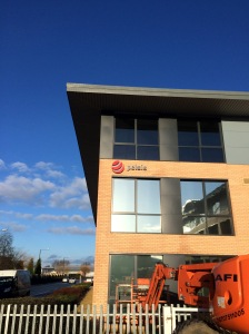 Pelsis fascia signage - built up metal letting and logo