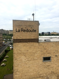 Flat cut stainless powder coated lettering on brickwork