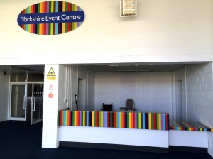 Reverse printed acrylic sign and printed vinyl reception graphics