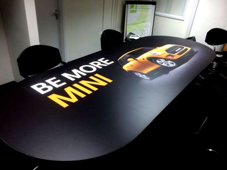 Office desk with MINI graphics by Ad Bell