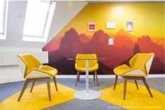 Printed wall graphics in yellow themed colours