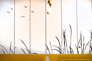 Wall vinyl wheat and birds silhouette graphic