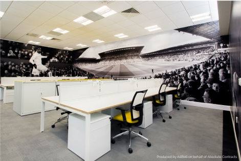 Wall graphics in the Leeds United football club offices