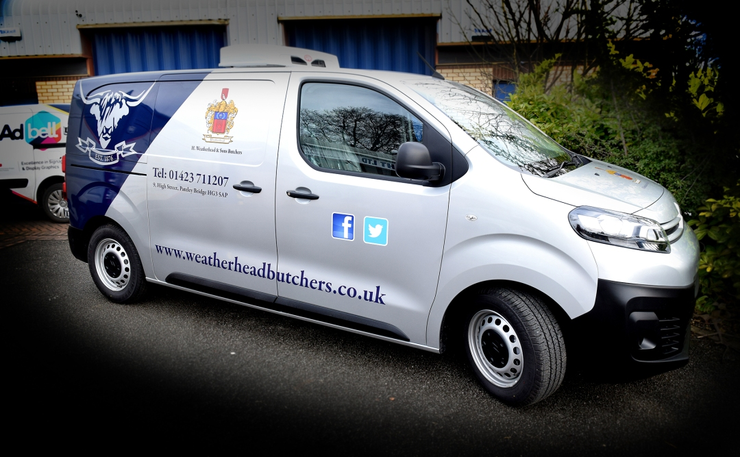 part wrap van graphics for Weatherhead Butchers